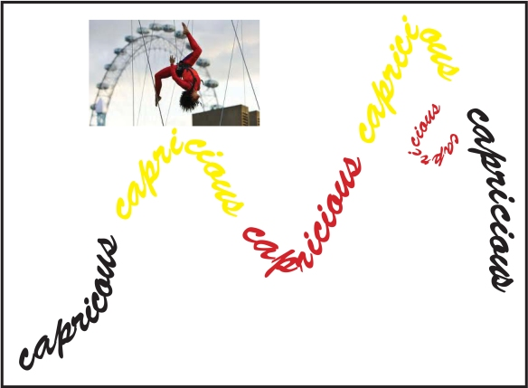 word capricious with photo of acrobat