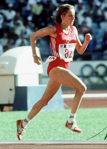 Nancy Tinari running at the 1988 Olympics