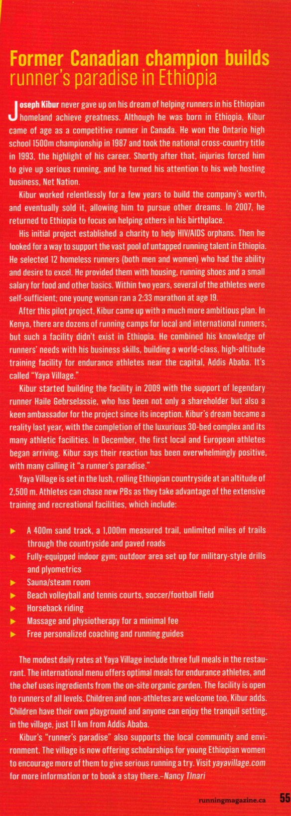 copy of Yaya Village article from Canadian Running Magazine