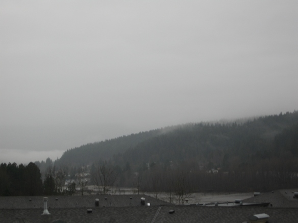 Photo showing view of Burrard Inlet on a rainy day